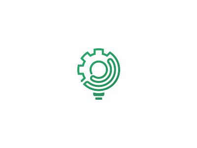 MELS logo industrial simple logotype flat green icon logo labyrinth cogwheel lightbulb