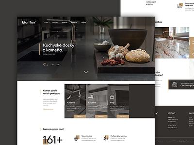 Bartfay stonemasonry - webdesign web ui ux brown gold kitchen stonemasonry landing page