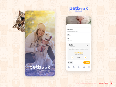 Pet Adoption & Donation App app mobile pet care animals pet adoption cats dogs colors ux ui app design pet app design