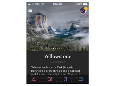 National Parks ui interface ios app iphone tits nature guide