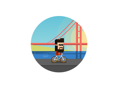 Hipster beard android ios bicycle sf san francisco illustration bike hipster app game