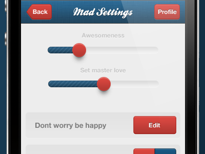 quick mockup from the kit ui interface iphone ios settings test app