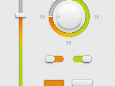 White Ui-kit (FREE PSD) ui interface app switch on tits off button ios white freebie kit