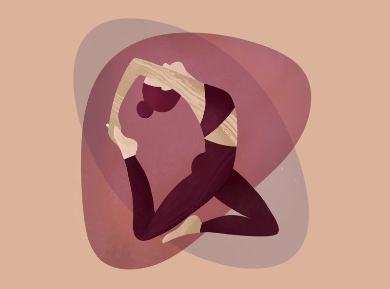 asana girl yoga procreate ipad illustration