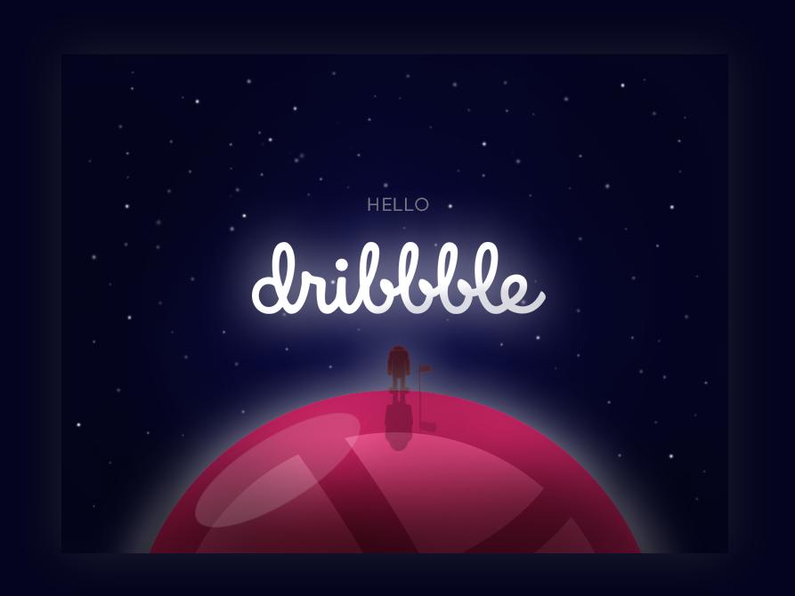 Hello Dribbble! debut planet illustration hallo first dribbble