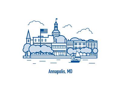 Annapolis, MD line art skyline annapolis illustration city