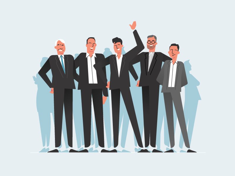 Business Guys characters smart suits formal business illustration vector 2d