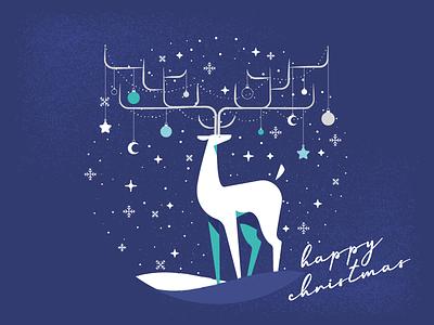 A Very Festive Reindeer xmas decorations snowglobe snow deer reindeer christmas design illustration vector 2d
