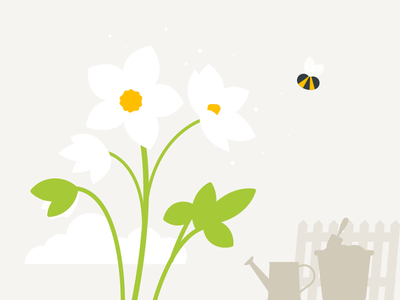 Spring is upon us plats bees bee flowers illustrator spring illustration vector 2d