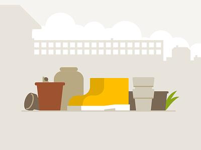 Pots boots plants illustrator gardening illustration vector 2d