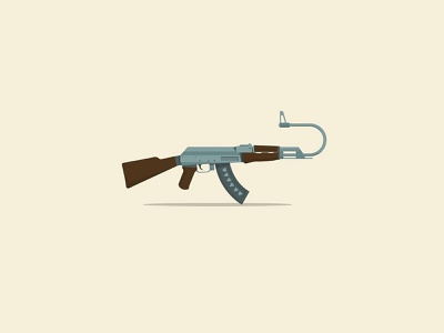 K hope guns ak47 self love branding icon graphic flat digital vector illustration design