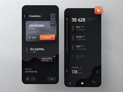 Kangaroo Wallet graph exchange bitcoin cryptocurrency finance crypto blockchain fintech skeuo dark app mobile design ui