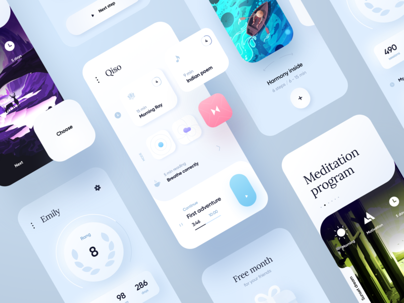Qiso Meditation App lifestyle relaxing chilling calm ux ios yoga stats meditate health case psychology meditation illustration cards design mobile ui