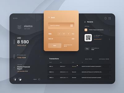 Elastos Wallet transactions buy sell send money elastos macos app dark design ui wallet cryptocurrency blockchain crypto