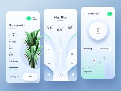 Growing 🌿 App stats garden flower green skeuomorphic eco planting indoor growbox plant light app ui design mobile