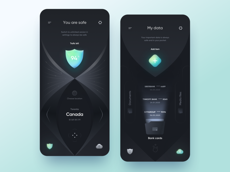 Security 🛡 App cloud files vpn shield safe security sketch gui dark app mobile design ui