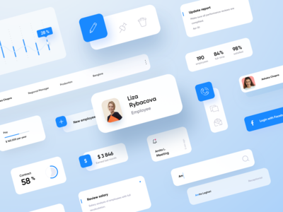 HR Panel • Ui Kit web flat blue cards tracker cms kit gui light design ui