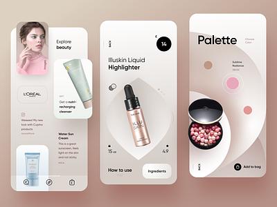 Beauty Store feminine uiux store soft skincare makeup fashion ecommerce beauty cards light app mobile ui