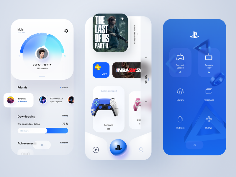 PS App figma blue playstation sony ps cards light app mobile ui