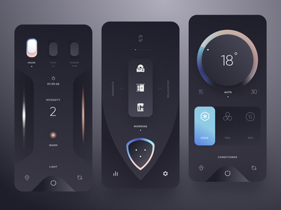Smart Home neumorphic minimal switch clean smarthome dark app mobile design ui