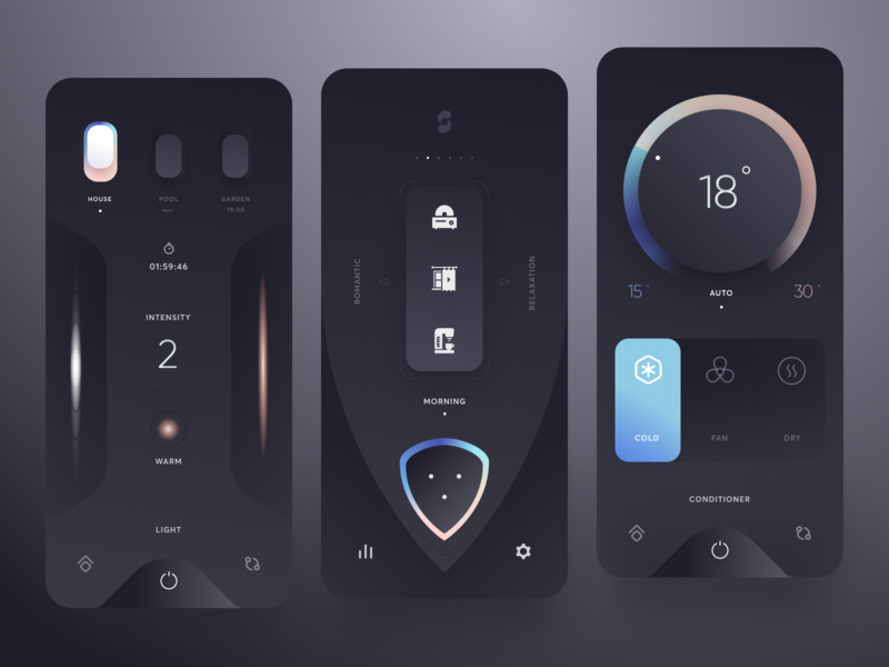 Smart Home neumorphic minimal switch clean smarthome dark app mobile design ui