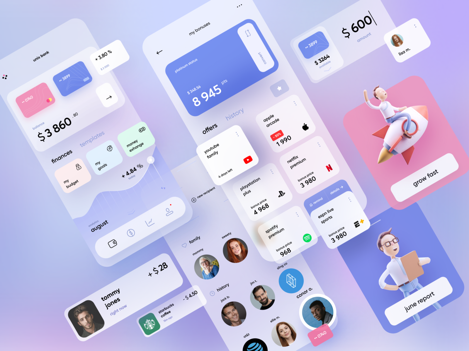 Mobile Banking graph balance payment pay illustration banking concept bank app kawaii design cards light mobile ui
