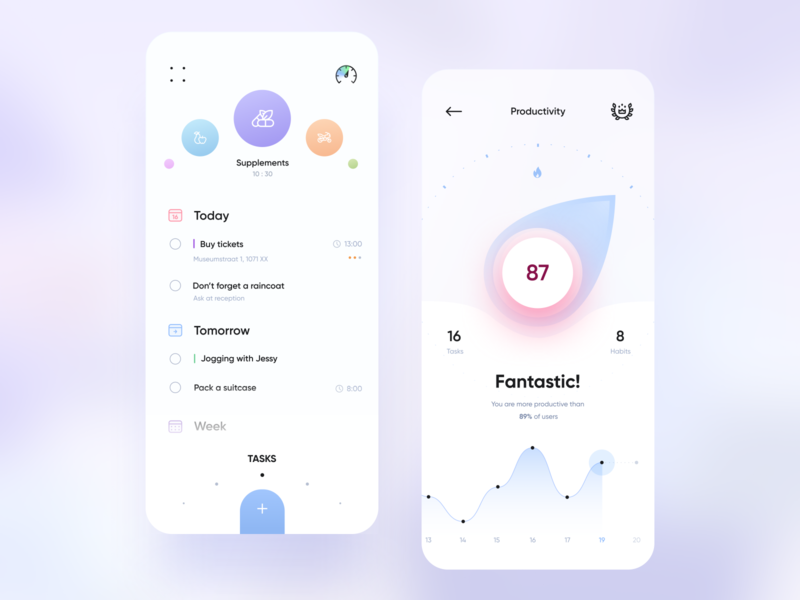 To-do-do-doo productivity habits tasks todo gui light app mobile design ui