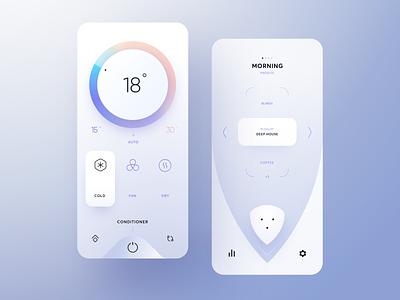 Smart Home Center minimalistic design light uix home smart presets button menu playlist switcher conditioner wheel ui app