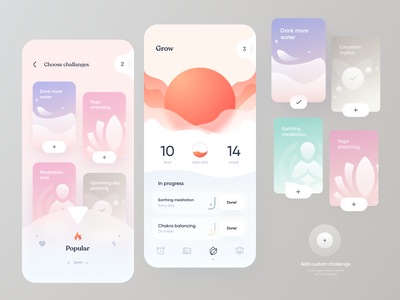 Habit tracker tracker soul yoga meditation shapes smooth sun challange habits light app mobile design ui