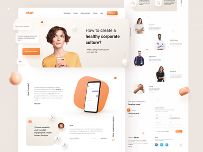 Corporate training courses orange landing brand corporate courses web design ui