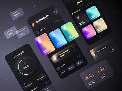 Multi-Tool Utility App battery dashboard graph charging memory utility colors cards dark app mobile design ui