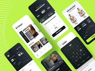 Workout App training plan ui design application ios graph stats calendar minimal cards trend body workout gym sport design app mobile ui