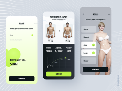 Workout App training plan ui design application ios graph stats calendar minimal cards trend body workout gym sport design app mobile ui