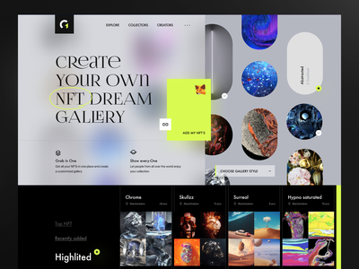 Gallery One gallery cryptocurrency platform web modern neon dark ui cryptoart art ethereum nem binance blockchain crypto nft