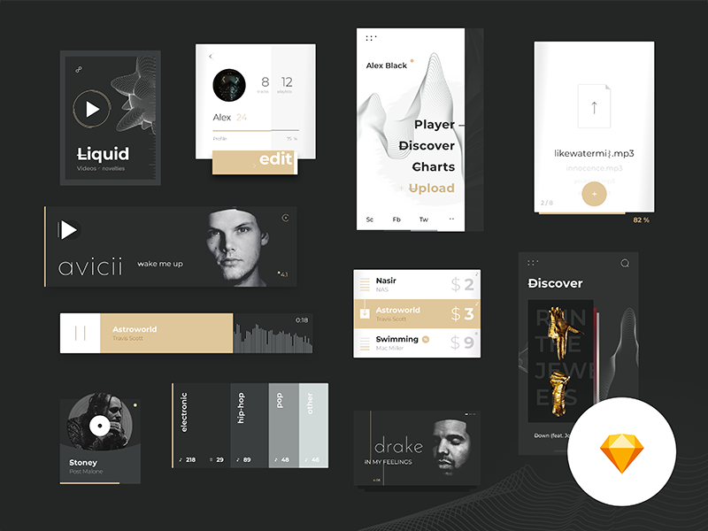 Music Platform Ui Kit by Sèrgi Mi on Dribbble
