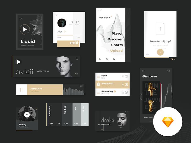 Music Platform Ui Kit mobile app minimalistic 2018 elements free gui music download ui sketch freebie