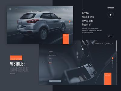 Hyundai Concept tech interface concept minimalistic auto site hyundai dark ui web