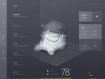 3d printer UI modern uixlover ui fluent design minimalistic 3d scene smooth grey 3d printer