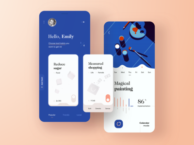Habits Tracker App habit app personal cards paintings modern blue tracker habits concept ui mobile