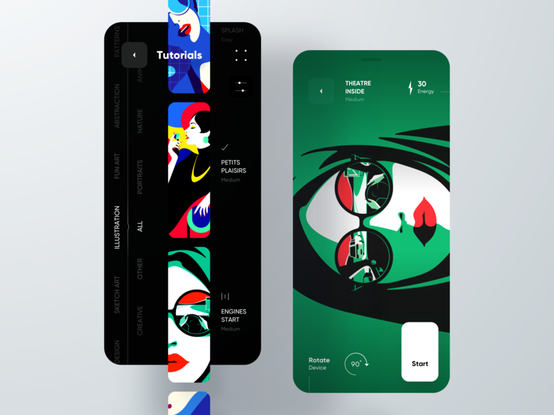 Drawing Tutorials App gui minimalistic ui design contrast colorful list mobile black cards category listing tutorials illustrations theme dark app applepencil