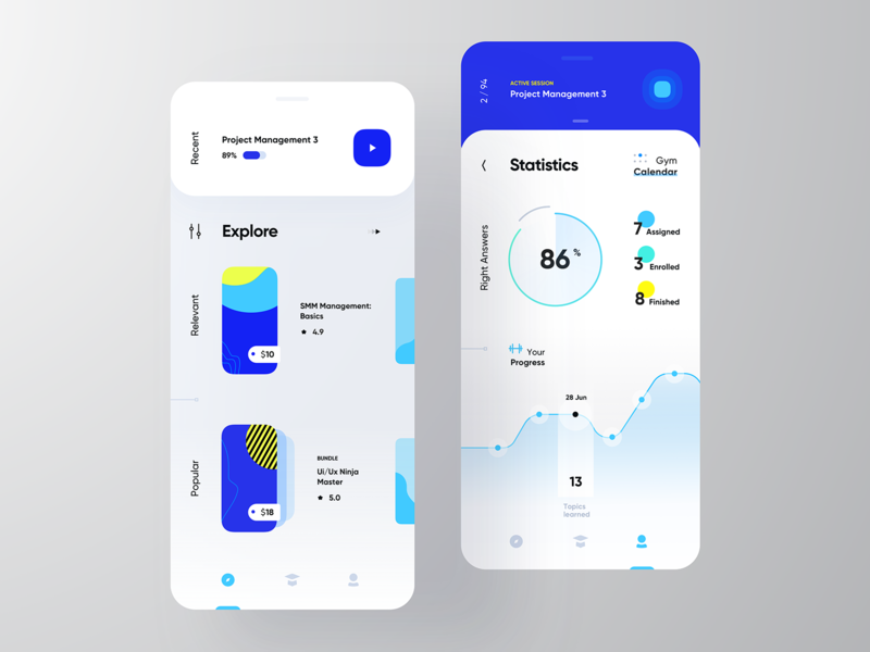 Online Courses gui modern dashboard colors learning online courses clean cards mobile app design ui