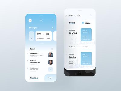 Flight Tracker App design details cards tickets uiux mobile flights app tracker flight light ui