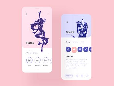 Daily Horoscope mystic prediction art concept gui color tarot astrologic minimalistic astro design app mobile horoscope flat light ui
