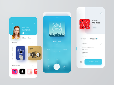 Books & Podcasts design light mobile cover android ios ux colors profile book podcast listening player books audio app ui