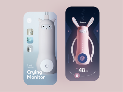Baby Crying Monitor product dark interface crying cry monitor sleep kids app design mobile ui