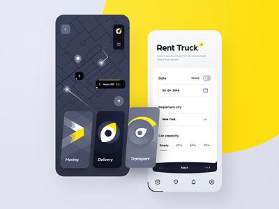 Moving Truck Rentals cards moving car rent order map delivery truck gui dark app mobile design ui