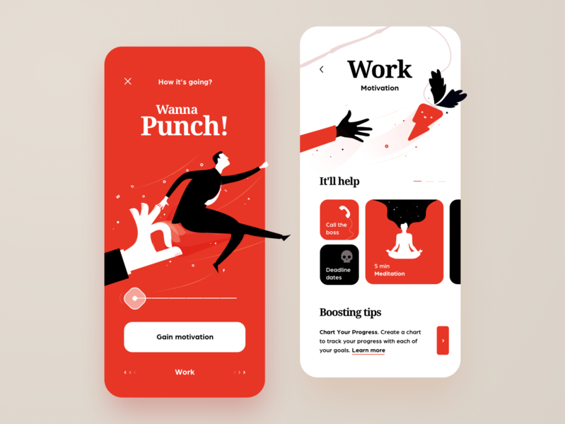 Motivational App 😁 red fun illustration light app mobile design ui