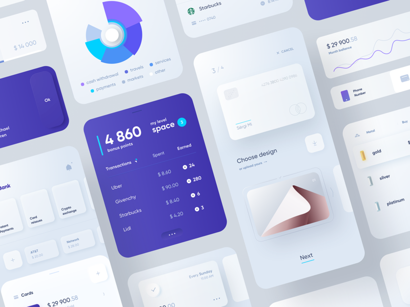 Banking ⑆ Components banking bank cards minimalistic light mobile design ui