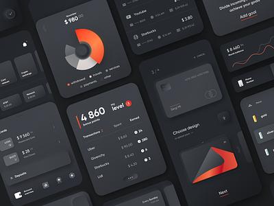 Mobile Banking | Dark ios design skeuomorph clean ui fintech credit card money finance balance mobile bank kit application dark app