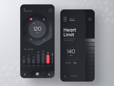 Fitness Device App dark fit sport diet callories gym fitness design mobile skeuo neumorphism ui